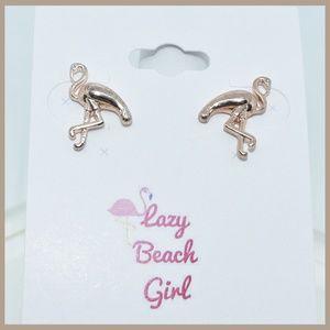 Jewelry - Petite Gold Flamingo Earrings